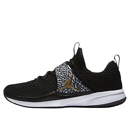 Jordan Men's Trainer 2 Flyknit Black/Metallic Gold/White Nylon Running Shoes 13 M US