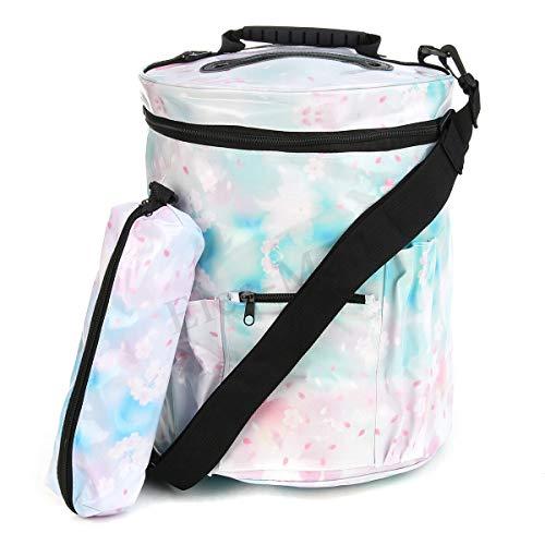 ☆ Large Knitting Tote Bag Yarn Storage Holder Bag for Organizer Crochet Knitting (Pattern: - Blue Sakura) by MOPOLIS (Image #1)