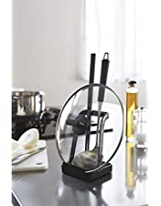Spoon Stand Spoon Rack Cover Stand Tower Ladle Holder-Lid Stand for Utensils in Kitchen, Black