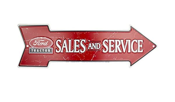 Dealer Tractors Ford Tractor Sales and Service Embossed Arrow Tin Metal Sign