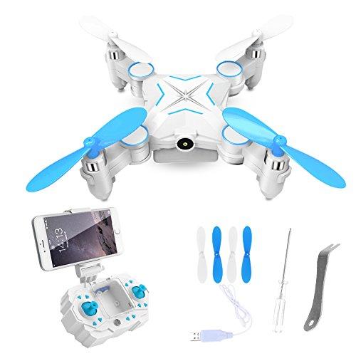GEEDIAR Ferngesteuerter Quadrocopter mini Drohne 2.4GHz mit 1MP HD Kamera WiFi FPV Live Übertragung Quadcopter Smartphone/Fernbedienung gesteuert(Blau)