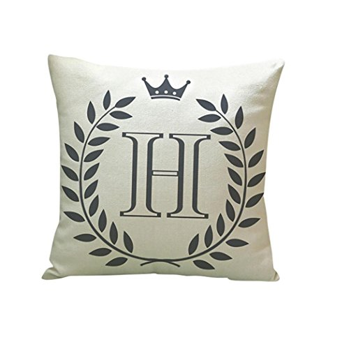 Kimloog 18 x 18 Linen Throw Pillow Case Leaf Letters Pattern Decorative Square Cushion Cover (H)