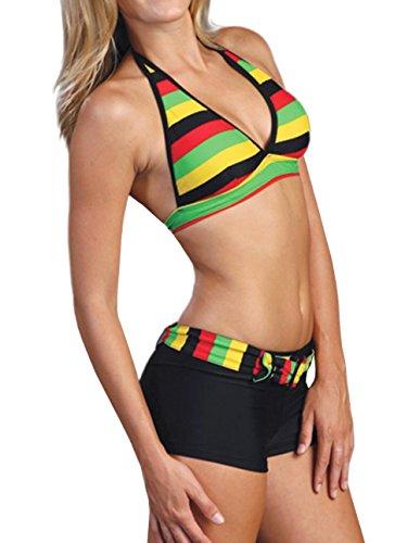 2 Piece Short & Halter Bikini Top Swimsuit Set (Medium, Jamaican Flag)