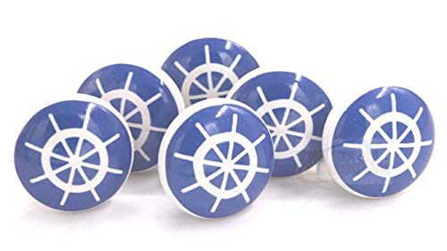 The Metal Magician Ship's Wheel Nautical Design Ceramic Drawer Pulls, Cabinet Knobs, Blue & White, Set of 6