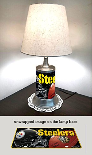JS Table Lamp with Shade, Pittsburgh Steelers Plate Rolled in on The lamp - Lamp Pittsburgh Table
