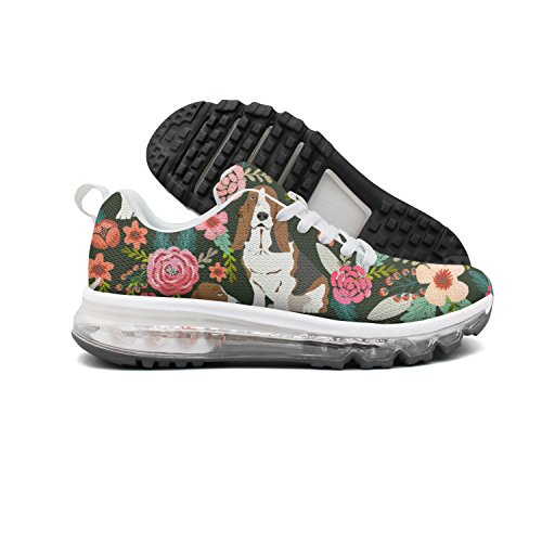 djghgpop Attractive Women Novelty Vintage Basset Hound Floral Dog Training Air Cushion Athletic Shoes