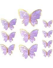 5 set 50 st fjärilsklistermärken tårtdekoration handgjord fjäril 3D fjäril tårtdekoration för födelsedagstårta festdekoration matdekoration (lila)