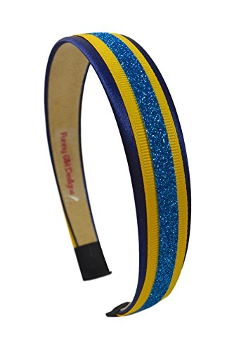Football Team Fan Glitter and Grosgrain Arch Headband San Diego Colors Navy Gold and Powder Blue