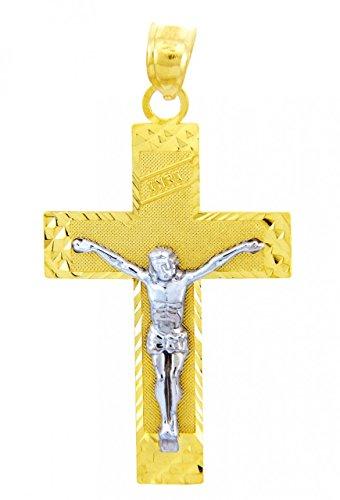 10 ct 471/1000 Or Avec Deux Tons Crucifix - L'INRI Crucifix Pendentif Collier (Livre Avec un 45 cm Chaine)