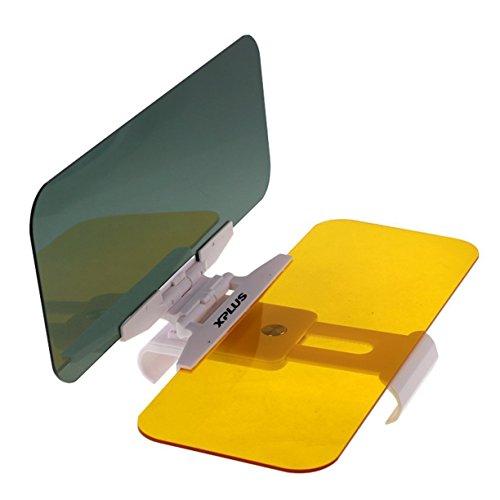 XPLUS Car Day and Night Anti-Glare Visor, 2 in 1 Automobile Sun Anti-UV Block Visor Non Glare Anti-Dazzle Sunshade Mirror Goggles Shield for Driving Goggles (Car Visor)