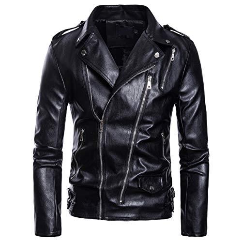 AOWOFS Men's Faux Leather Jacket Motorcycle Lapel Bomber Punk Irregular Zipper Jacket Black Slim (Best Quality Motorcycle Jackets)