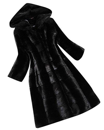 Fengbay Women's Fashion Waterproof Long Faux Mink Fur Hooded Coat Jacket XL Black