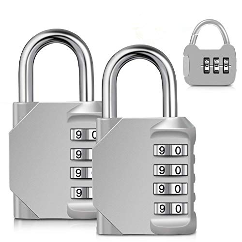 Combination Lock, Adoric Gym Lock 4 Digit Combination Lock Small for Gym, School, Fence, Toolbox, Case, Hasp Storage - Easy to Set Your Own Keyless Padlock combination-3Pack -