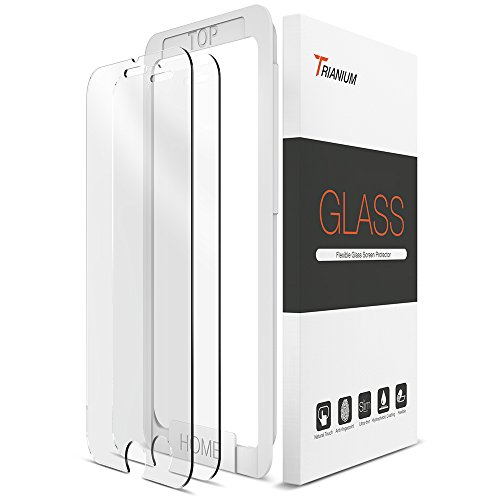 Trianium iPhone 7 Tempered Glass Screen Protector (2 Pack + Guidance Frame) for iPhone 6 iPhone 6s Screen Protectors 2016 2015 0.2mm [3D Touch] Compatible w/most Protective Cases & other accessories