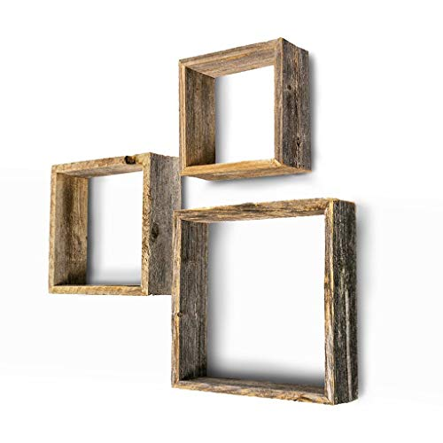 BarnwoodUSA Rustic Shelves, Square Floating Wood Shadowbox, Home Decor, Set of 3 (Natural Weathered Gray) ()