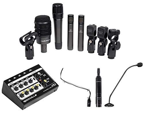 Audio Technica Drum Microphones+Mixer+Choir+Podium Mics For Church Sound Systems