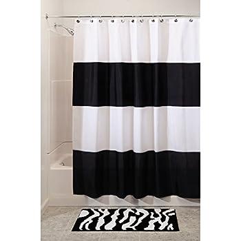 InterDesign Zeno Water Repellent Shower Curtain, Modern Black U0026 White  Stripes, 54u201d X