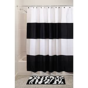 InterDesign Waterproof Mold and Mildew-Resistant Zeno Shower Curtain, X-Long, 72-Inch by 96-Inch, Black/White