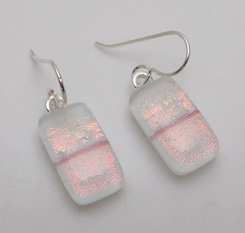 Dichroic Jewelry - White Peach Pink Fused Dichroic glass dangle drop earrings .925 Solid Sterling silver ear wires