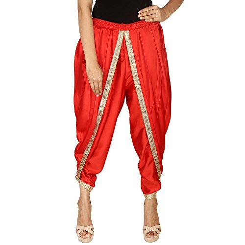 Red Color Satin Silk Dhoti Pant, Patiala Dhoti Salwar, Dhoti Trousers for Women, Girls by NAVYA CRAFT