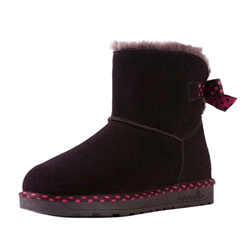 Nubuck Snow Hooh Bowknot Boots Coffee Warm Wave Womne's cncrW1T