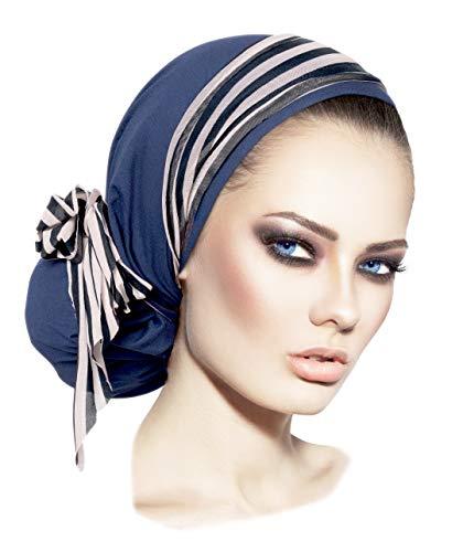 Soft Pre-tied Navy Blue Headscarf Snood with Black & White Stripe Wrap - 093