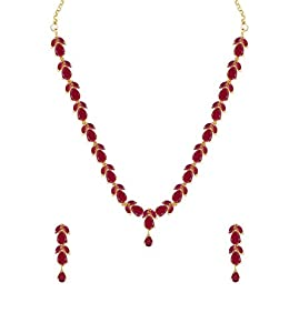 Zaveri Pearls Delicate Ruby Necklace Set For Women - ZPFK6110