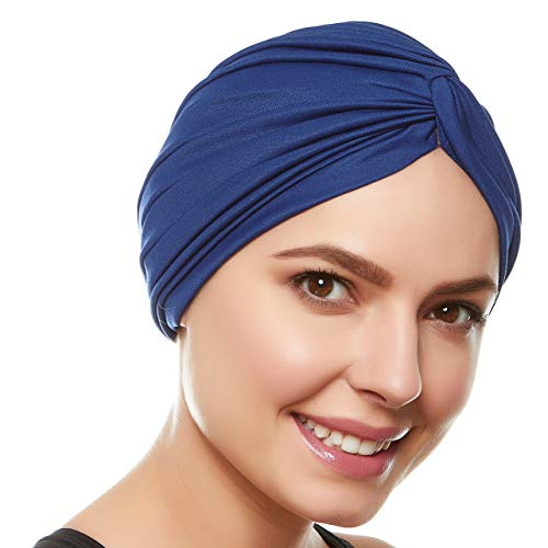 Beemo Polyester Twisted Pleated Turban Head Cover - Navy