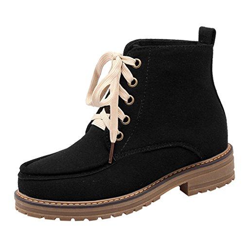 Women's Lace Short Boots Ankle Snow Winter Eclimb Black up Boots Warm RHgnxq