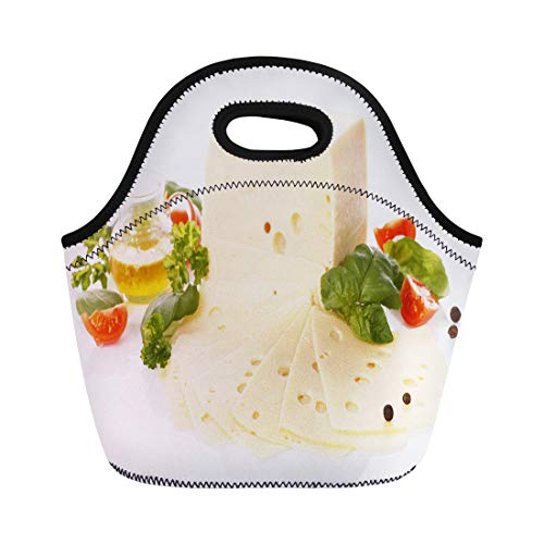 (Semtomn Lunch Bags Breakfast Green Gouda Cheese Yellow Basil Cheddar Cherry Tomatoes Neoprene Lunch Bag Lunchbox Tote Bag Portable Picnic Bag Cooler Bag)
