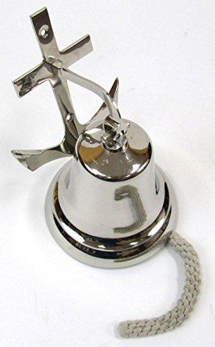 Wall Mount Chrome-Plated Brass Ship's Bell W/ Anchor Bracket - 7''