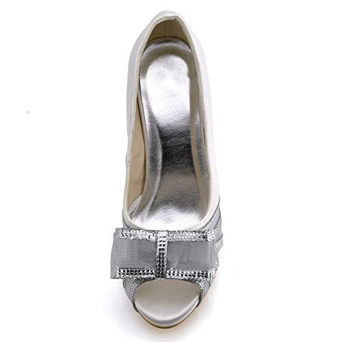 Heel Heel colore Flatfs Raso Gymz711 Bowknot 5 Sandali Sera Sposa Uk Dimensione Pompe Qiusa Party 10cm White Da Ivory 4 10cm Scarpe Womens Prom agqwgxO