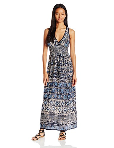 Angie-Womens-Blue-Printed-Maxi-Dress