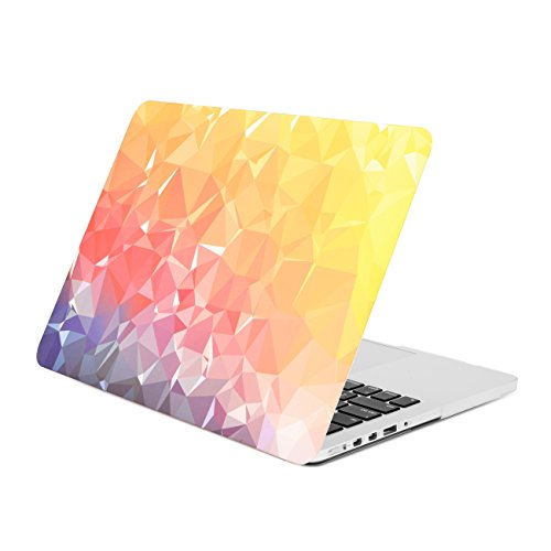 Unik Case-Gradient Sunset Ombre Triangular Galore Graphic Ultra Slim Light Weight Matte Rubberized Hard Case Cover for Macbook Pro 13 13-inch with Retina Display Model: A1425 and A1502