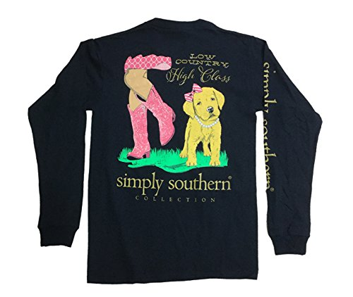Simply Southern Low Country High Class Adult Long Sleeve T-shirt-Navy-large
