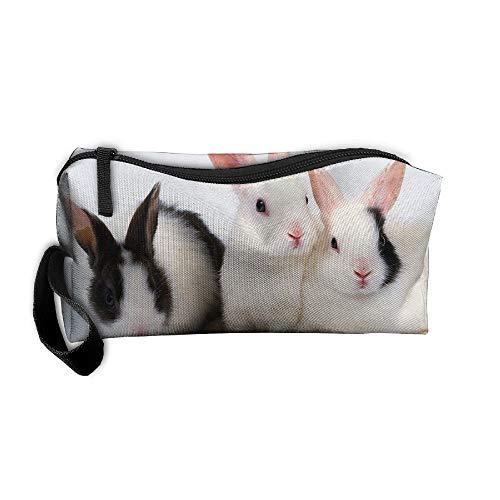 Jessent Coin Pouch Cute Rabbits Pen Holder Clutch Wristlet Wallets Purse Portable Storage Case Cosmetic Bags Zipper ()