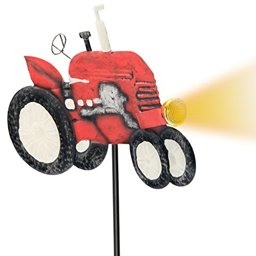 Outdoor Solar Garden Stake Lights - VINTAGE TRACTOR Garden Decor Landscape Lighting - Low Voltage Solar Powered LED Stakes for Unique Landscaping Accent Ideas For Yard Lawn Backyard Walkway Pathway