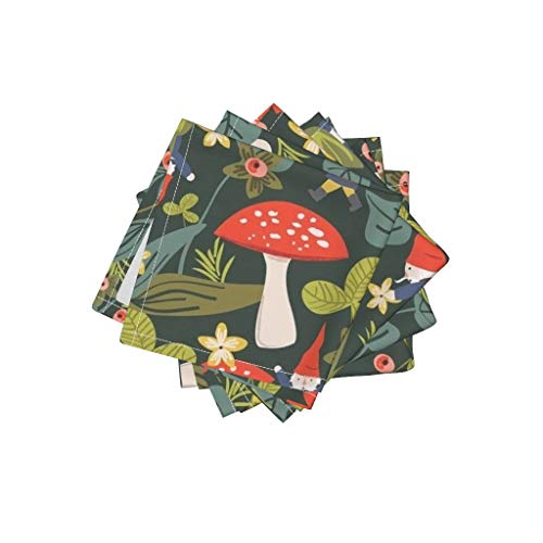 nen Cotton Cloth Cocktail Napkins Red Mushroom Garden Gnome Quilt Red Mushroom Gnome Garden Woodland Summer Floral by Shelbyallison Set of 4: 10 x 10in ()