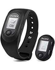 INTEY Pedometer Fitness Watch with Detachable Wrist Pedometer for Step Tracker, Distance, Calorie Counter, Real Time Display and Clock