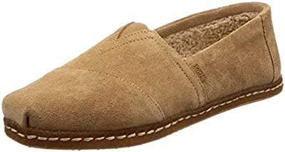 TOMS Classic Alpargata Men's Slip on Shoes Toffee Suede w/Shearling on Crepe