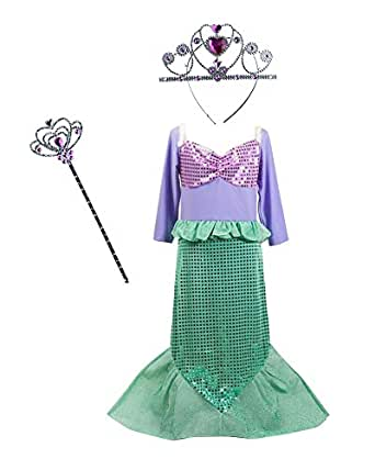 TOKYO-T Ariel Costume for Kids Little Mermaid Dress Up Halloween Princess with Tiara (5-6)