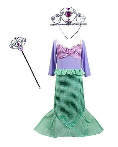 [TOKYO-T Ariel Costume for Kids Little Mermaid Dress Up Halloween Princess with Tiara (3T)] (Ariel Costumes Toddler)