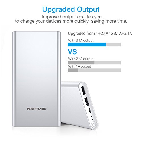 Poweradd Pilot 2GS 10,000mAh 3.4A Output Dual-Port Portable Charger External Battery Power Bank Compatible for iPhone, iPad, Samsung, most other Phones and Tablets-Silver
