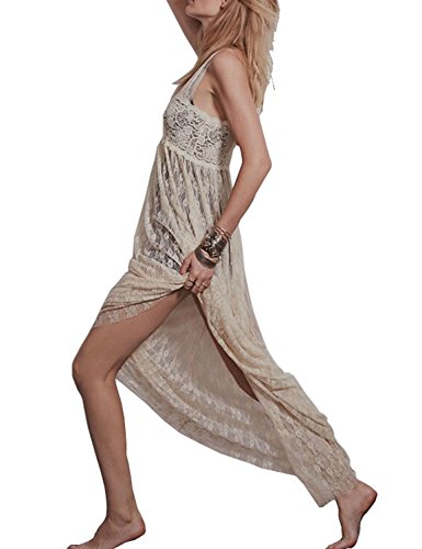 - Vivilover Maxi Dresses for Women Lace Babydoll Nightwear Long Gown Lingerie Dress (XL, Apricot)