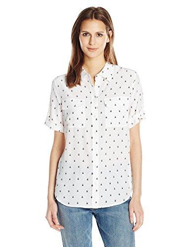狂気感謝しているやめるEquipment Women's Short Sleeve Slim Signature Top Bright White/Multi M [並行輸入品]