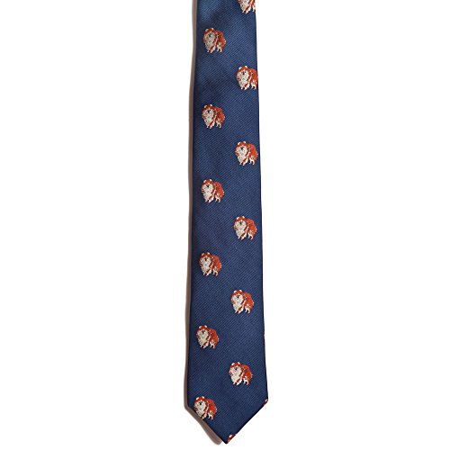 (Chipp 2 Pomeranian Silk Necktie with Deep Blue Background)
