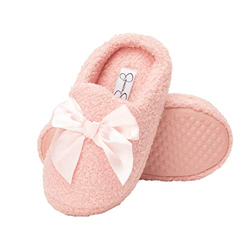 Jessica Simpson Girls Slip-On Clogs - Fuzzy Comfy Warm Memory Foam Sherpa Slippers with Satin Bow (Pink, Size Medium) (Slippers For Little Girls)
