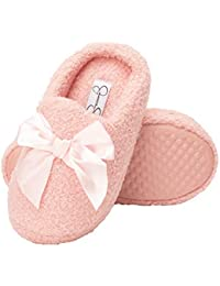 Girls Slip-on Clogs - Fuzzy Comfy Warm Memory Foam Sherpa Slippers With Satin Bow