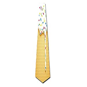 WuLion Cartoon Like Image Of And Melting Ice Cream Cones Colored Sprinkles Art Print Men's Classic Silk Wide Tie Necktie (8 CM)