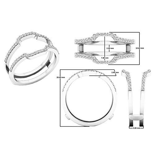 Dazzlingrock Collection 0.25 Carat (ctw) 10K White Diamond Wedding Band Enhancer Guard Ring 1/4 CT, White Gold, Size 7.5 by Dazzlingrock Collection (Image #4)